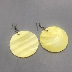 Yellow glass earrings